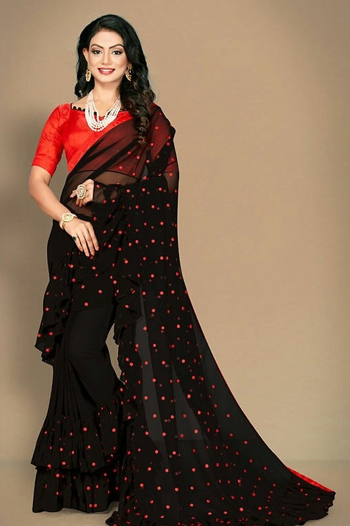 PS Fancy Georgette Sarees Black
