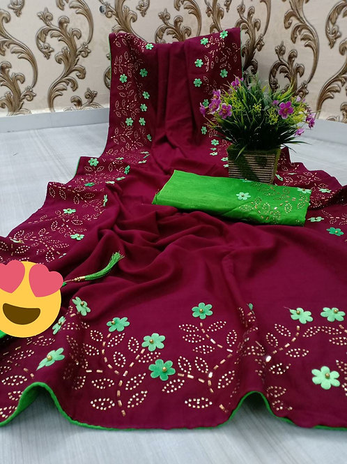 VRDSS Embroidery Two Ton Saree 03