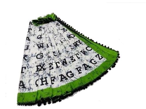 Alphabet Print Cotton Mulmul saree with pom pom lace (White and green)