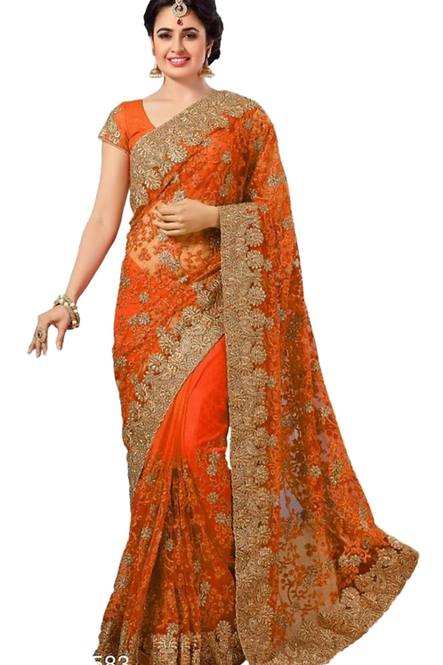 PV_N_1_Net saree with embroidery with Art Silk Blouse Piece Orange