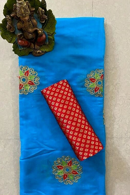PS Chanderi CottonSaree Blue & Red
