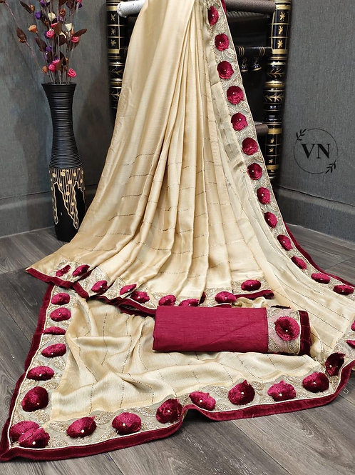 VRDS Ruby Line Embroidery Saree 01