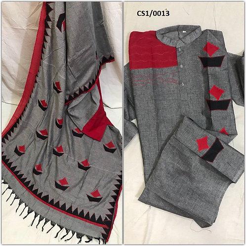 Khadi cotton applique work kurta with Saree Grey