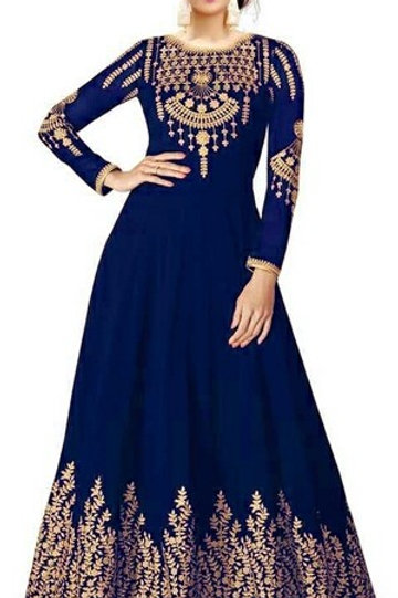 PS Ethenic Embroidered Women Gown Royal Blue