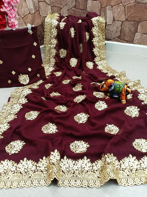 KFS Embroidery Diamond Design Saree 04