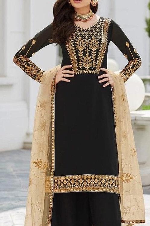 KFS  Faux Georgette Suits Black