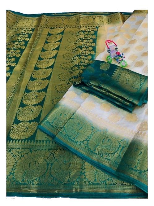 PV_02_Zari woven Banarasi Silk Saree White and Green