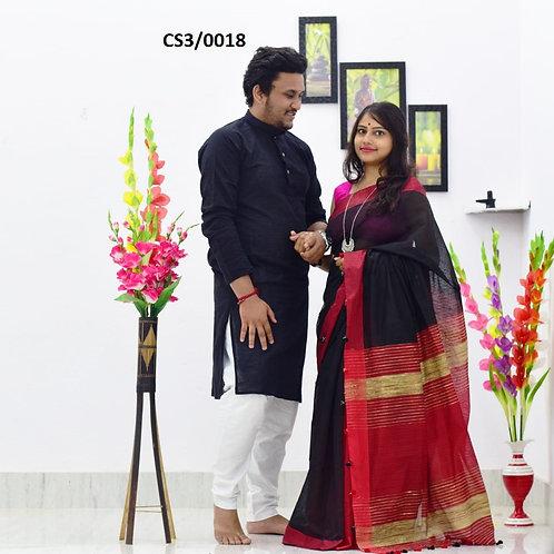 Plain Pure cotton kurta With Cotton Saree Black and Red