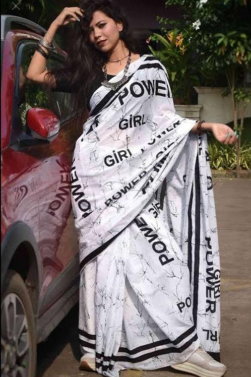 Hand printed Black and White Girl Power Cotton Mulmul saree