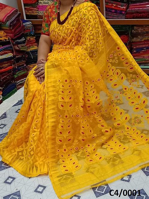 Minakari Jamdani Saree Yellow