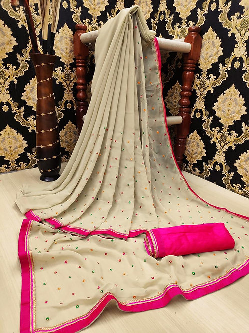 KFS Multi Embroidery Stone Work Saree Cream