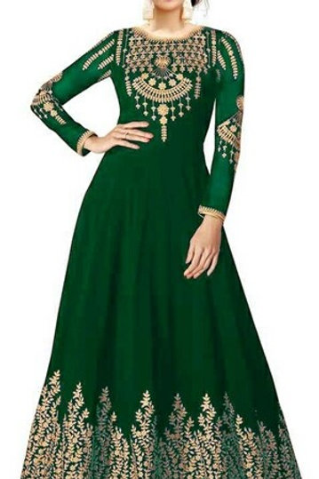 PS EthenicEmbroidered Women Gown Bottle Green