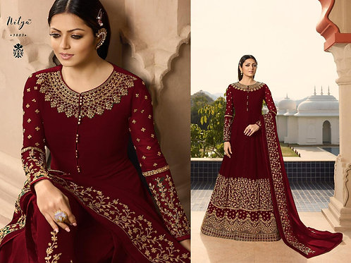 VRDS Fox Georgette Embroidery and Stone Work Gown 03