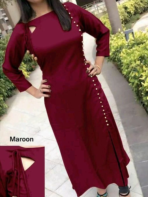 PB Modern Fancy Women Kurti  Maroon