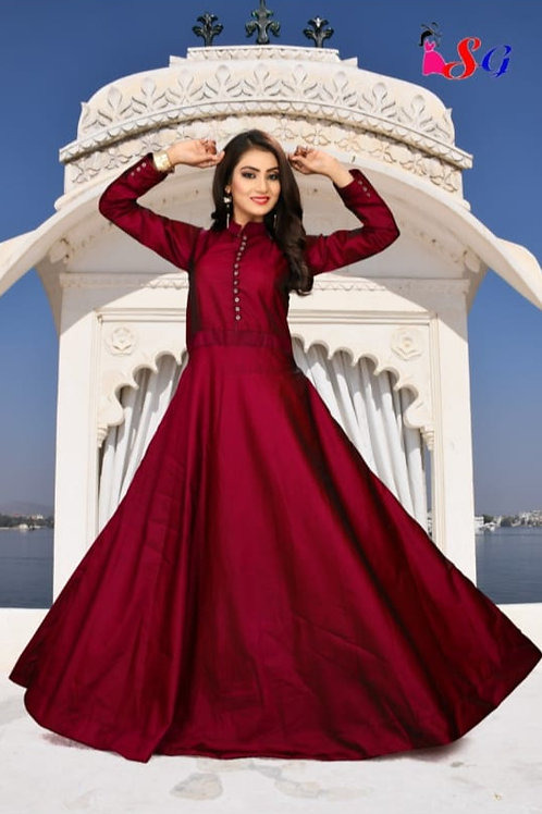AMS Sattin silk full Gown 02