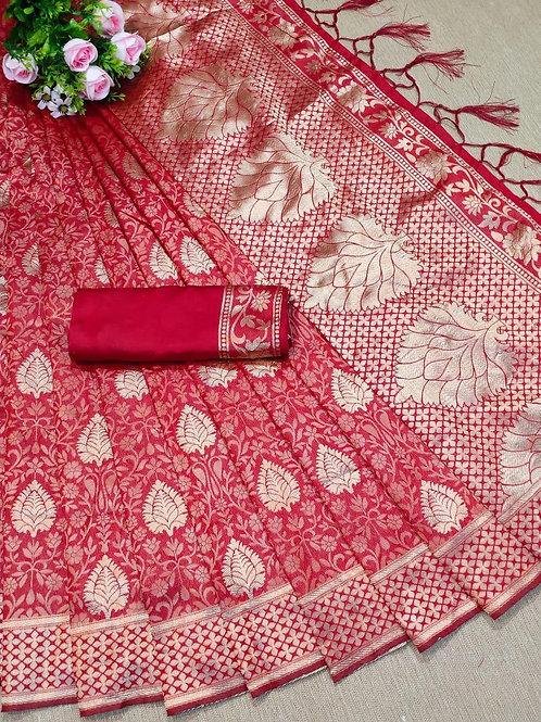 KFS Leaf Jacquard Silk Saree 03