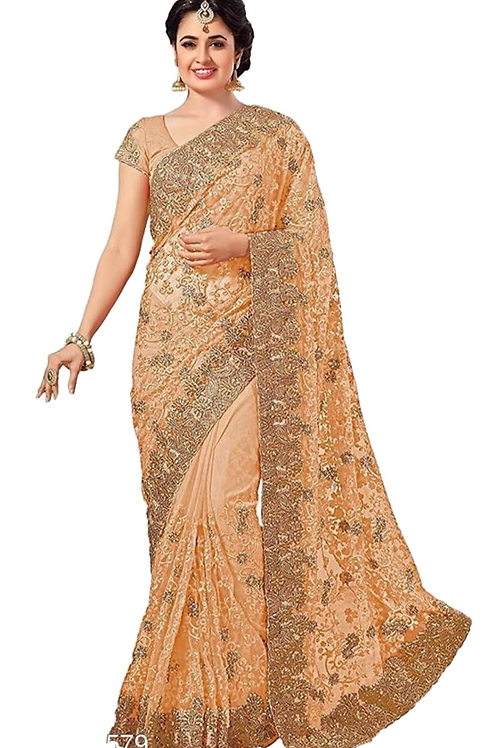 PV_N_4_Net saree with embroidery with Art Silk Blouse Piece Beige