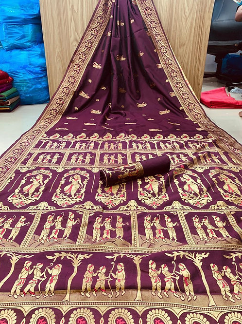 KFS  Embroidery Jacquard Saree 01