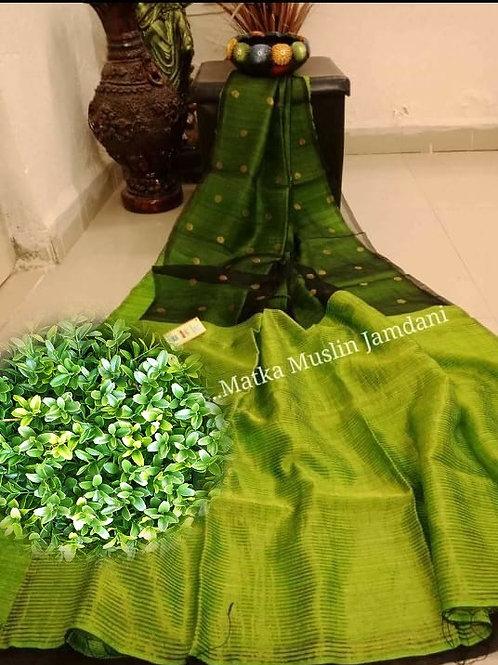Basic Matka Muslin Jamdani Saree  Green