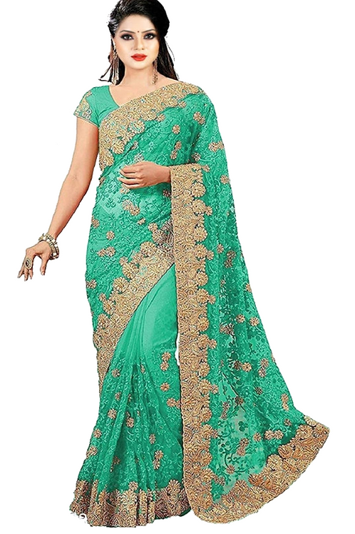 PV_N_7_Net saree with embroidery with Art Silk Blouse Piece Green