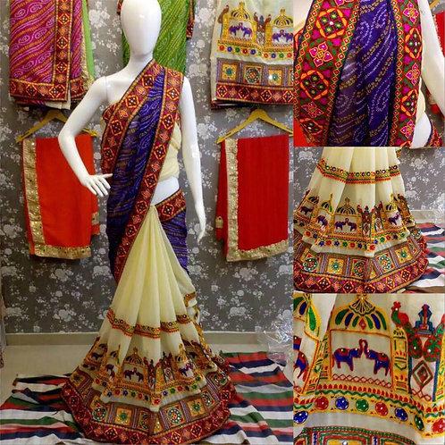 VRDS Bandhni Hathi Design Saree 04
