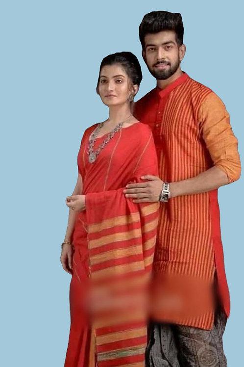Pure cotton  handloom saree with cotton Bicolour kurta combo
