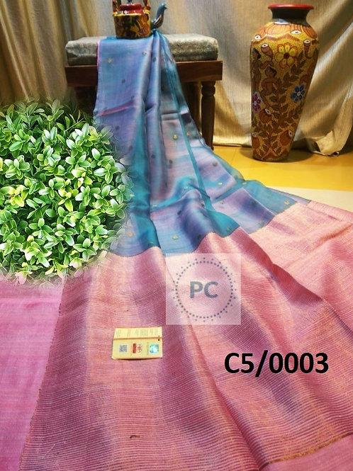BasicMatka Muslin Jamdani Saree  Pink and Blue