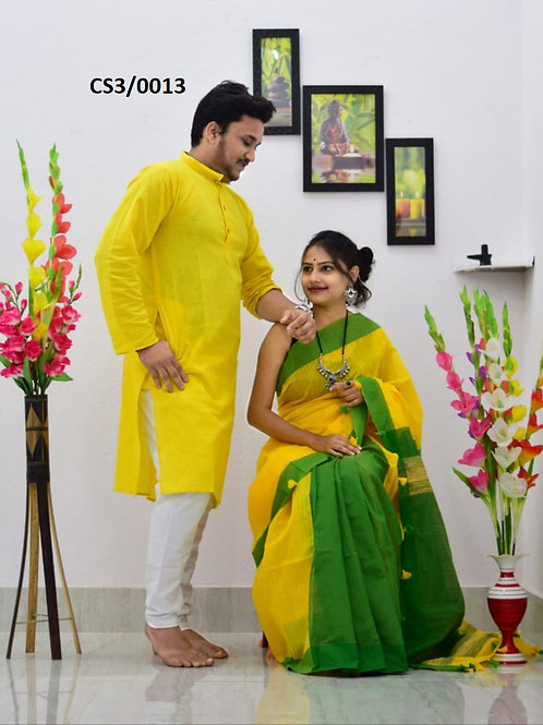 Plain Pure cotton kurta With Cotton Saree yellow and green