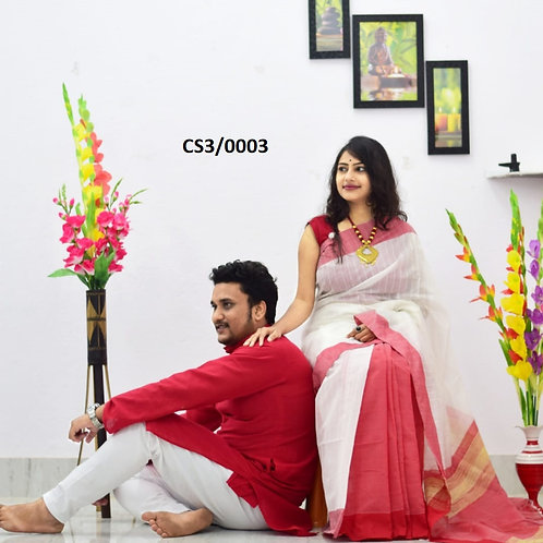 Plain Pure cotton kurta With Cotton Saree Red and White
