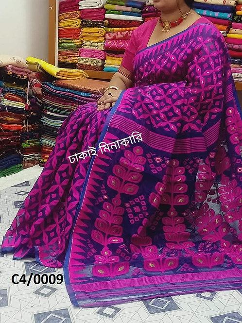 Minakari Jamdani Saree  Purple