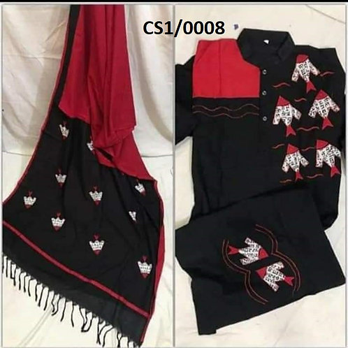 Khadi cotton applique work kurta with Saree Black