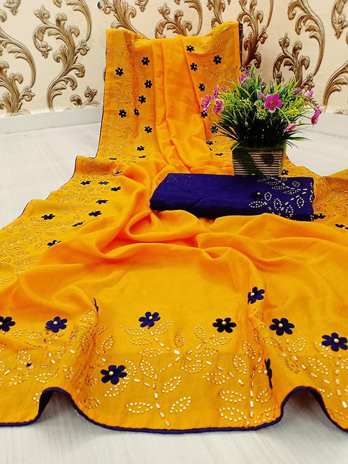 VRDSS Embroidery Two Ton Saree 04