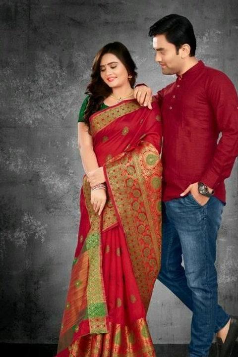 PB Kashvi Fancy Men's Kurta & Sarees Combo 04