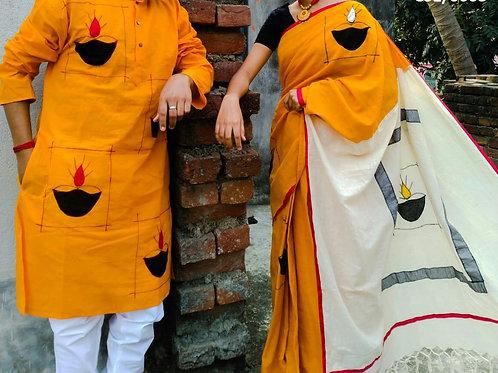 Khadi cotton applique work kurta with Saree   yellow and white