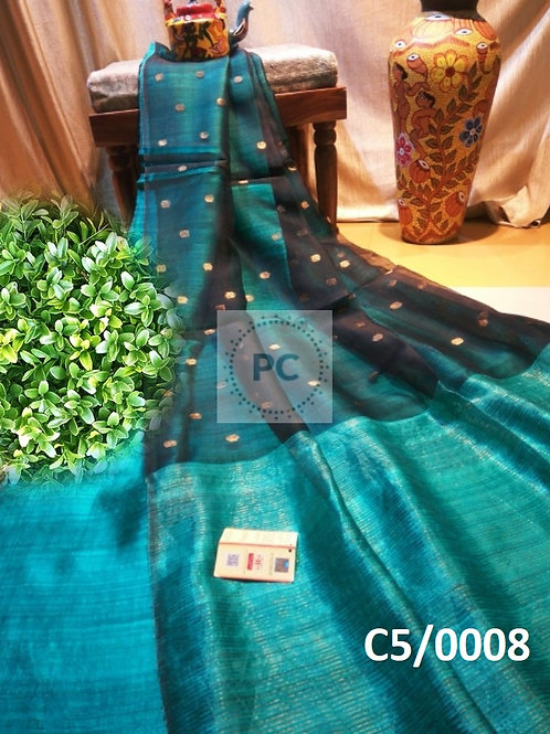 Basic Matka Muslin Jamdani Saree  Sea Green