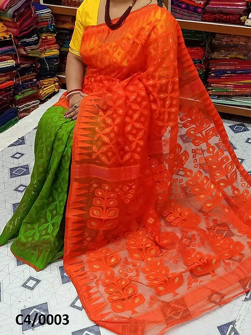 Minakari Jamdani Saree Orange Green