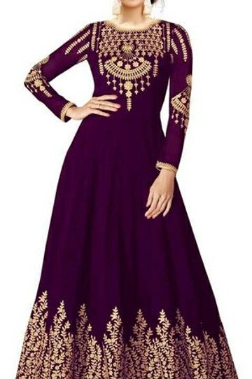 PS Ethenic Embroidered Women Gown Purple