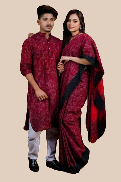 Jharna khadi cotton Kurta  with cotton Saree Maroon and Black
