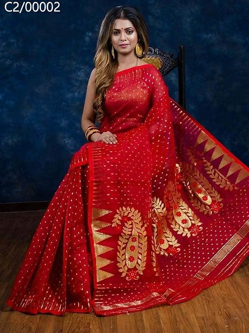 Hazar Butty Jamdani Saree Red