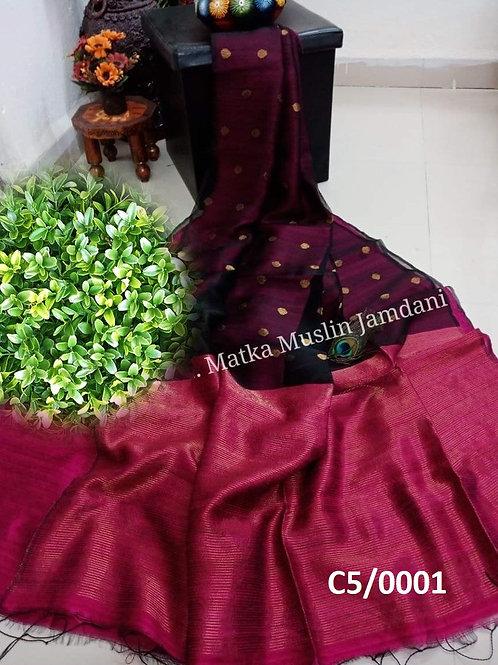 Basic Matka Muslin Jamdani Saree Deep Jam