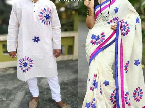 Khadi cotton applique work kurta with Saree White