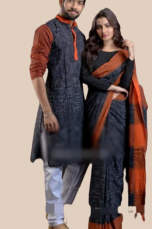 Jharna khadi cotton Kurta with Cotton Saree    Black and Orange