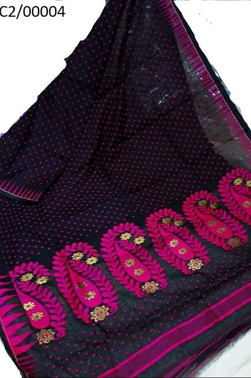 Hazar Butty Jamdani Saree Black and Purple