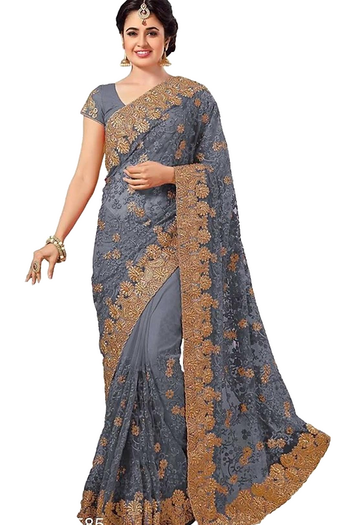 PV_N_2_Net saree with embroidery with Art Silk Blouse Piece Grey