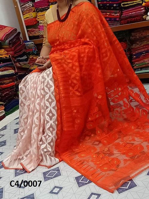 Minakari Jamdani Saree Orange White