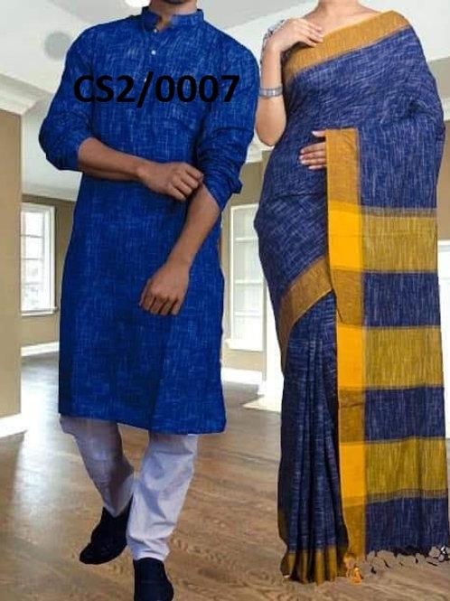 Jharna khadi cotton Kurta with Cotton Saree  Blue and Yellow
