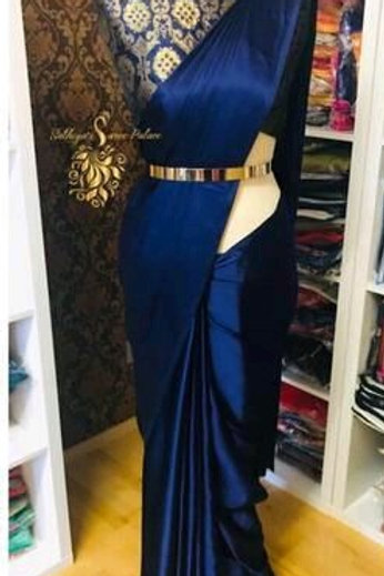 PS Satin Silk Saree Royal Blue