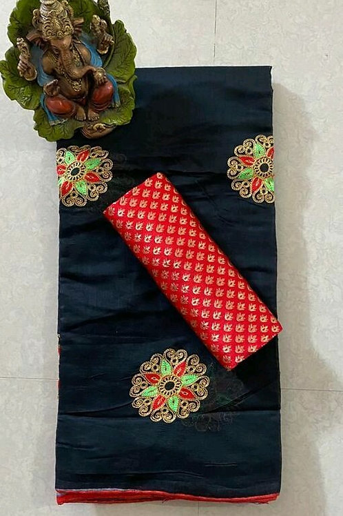 PS Chanderi Cotton Saree Black & Red