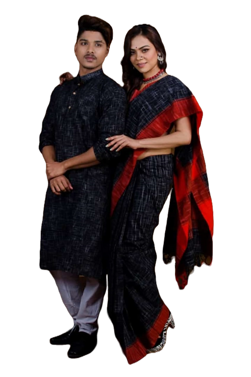 Jharna khadi cotton Kurta with Cotton Saree   Black & Red