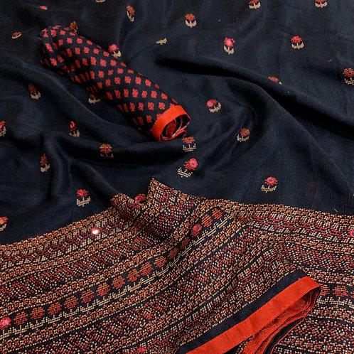 KFS Aari Mirror Embroidery Saree 04